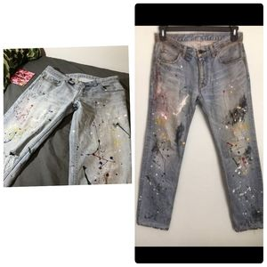 Painted Antique Rivet Grey Studded-Back Size 32